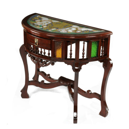 Console Table Teak Wood with Honey Brown Finish with Tanjore Painting