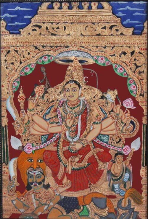 Goddess Chamundi Tanjore Painting