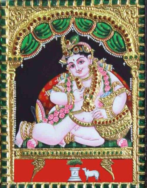 Krishna with Butter Pot Tanjore Painting