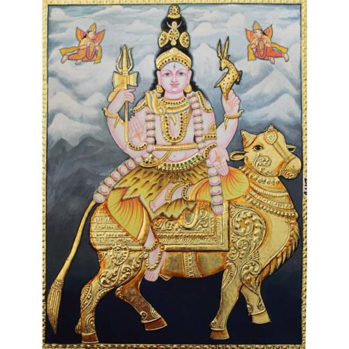 Lord Shiva Riding Nandi Tanjor