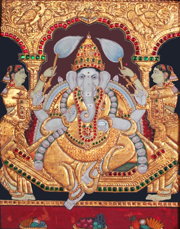Sitting Vinayaka Tanjore Painting