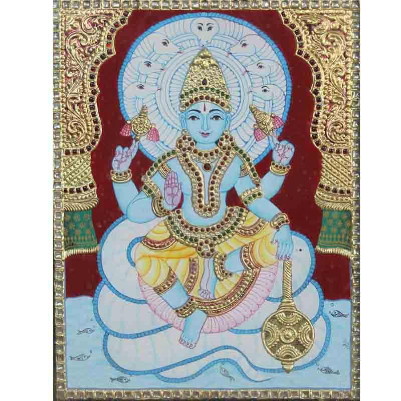 Vishnu on Sheshnag Tanjore Painting