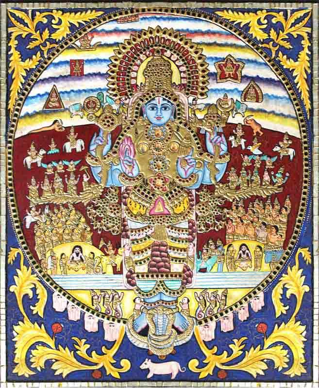 Krishna Vishwaroopa Tanjore Painting