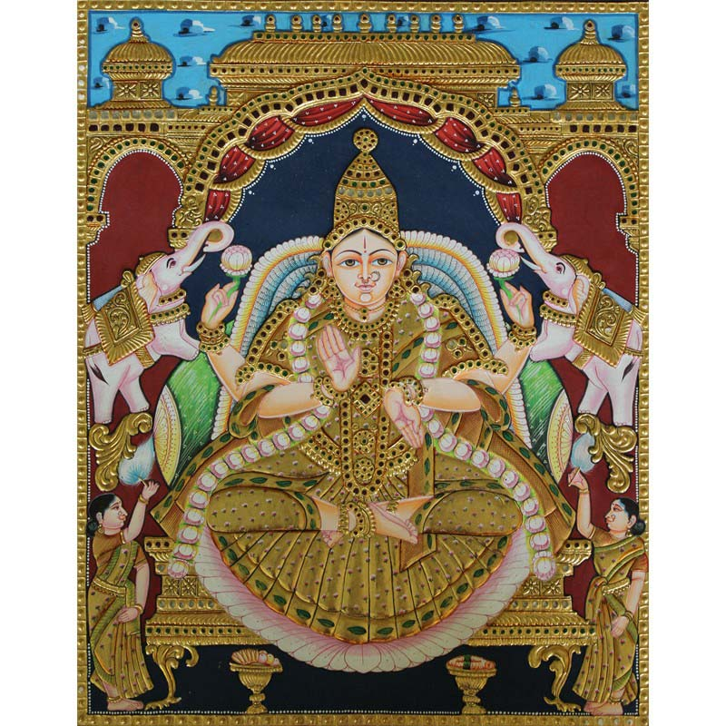 GajaLakshmi with Elephants on Lotus Tanjore Painting