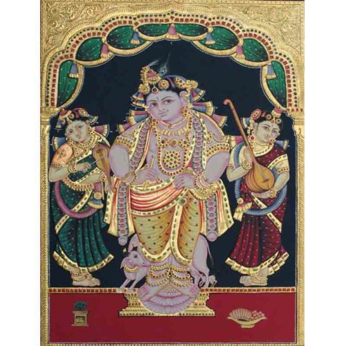 Krishna with Gopikas Tanjore Painting