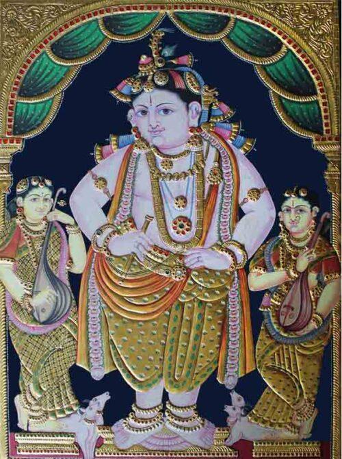 Balakrishna with Gopikas Tanjore Painting
