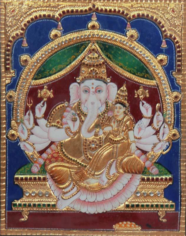 Vinayaka with Sidhi Tanjore Painting