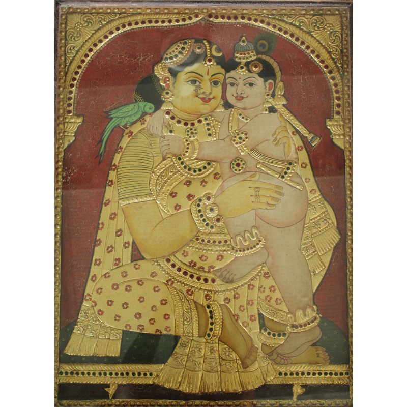 Yashoda and Krishna Tanjore Painting