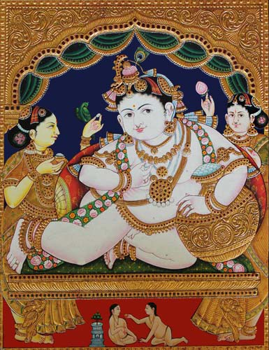 Balkrishna with Butter pot tanjore painting
