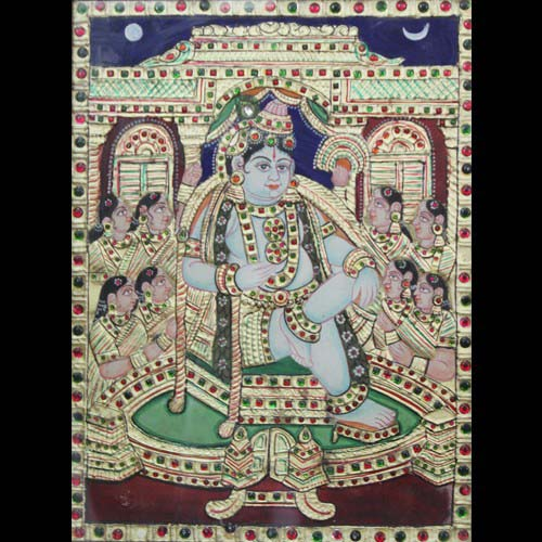Lord Krishna sitting with Gopikas tanjore painting