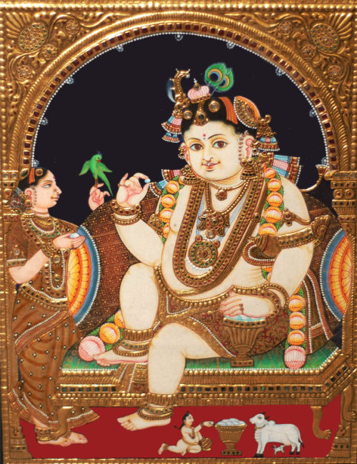Bala Krishna with Mother Yashoda Tanjore Painting