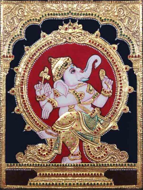 Natya Vinayaka Tanjore Painting