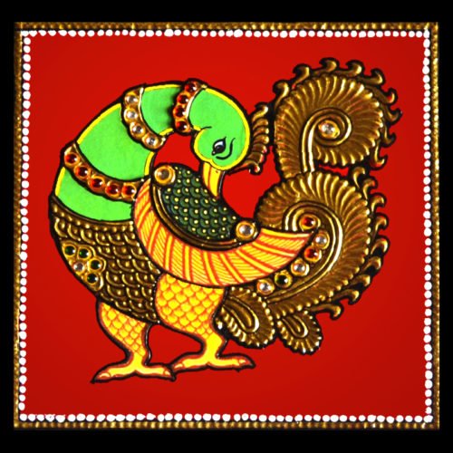Indian Peacock Tanjore Painting