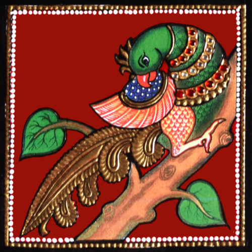 Colorful Indian Peacock Tanjore Painting