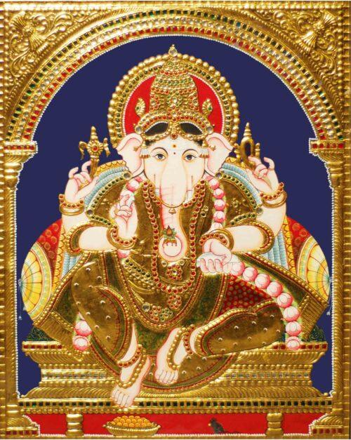 Ganesha Tanjore Painting with Mushika Vahana