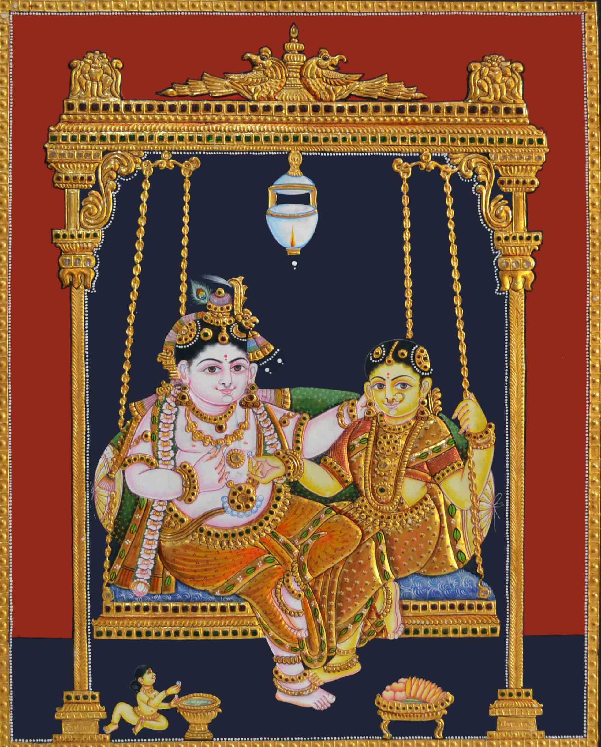 Radha Krishna on Wooden Jhula Tanjore Painting