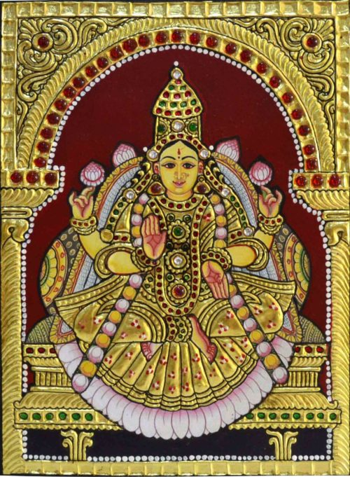 Embossed Lakshmi Tanjore Painting in 3D Finish