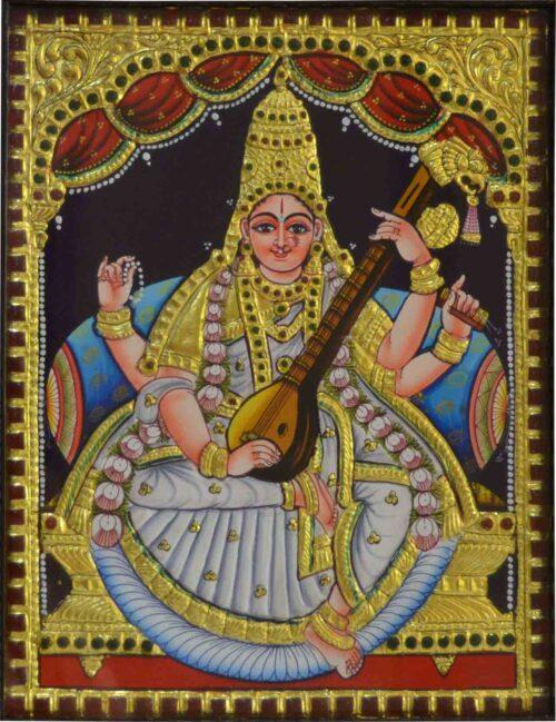 Embossed Saraswati Tanjore Painting