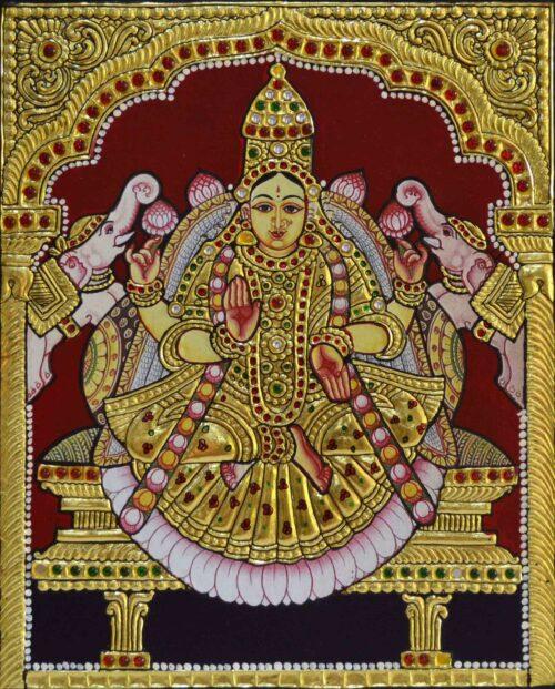 Golden Gajalakshmi Tanjore Painting