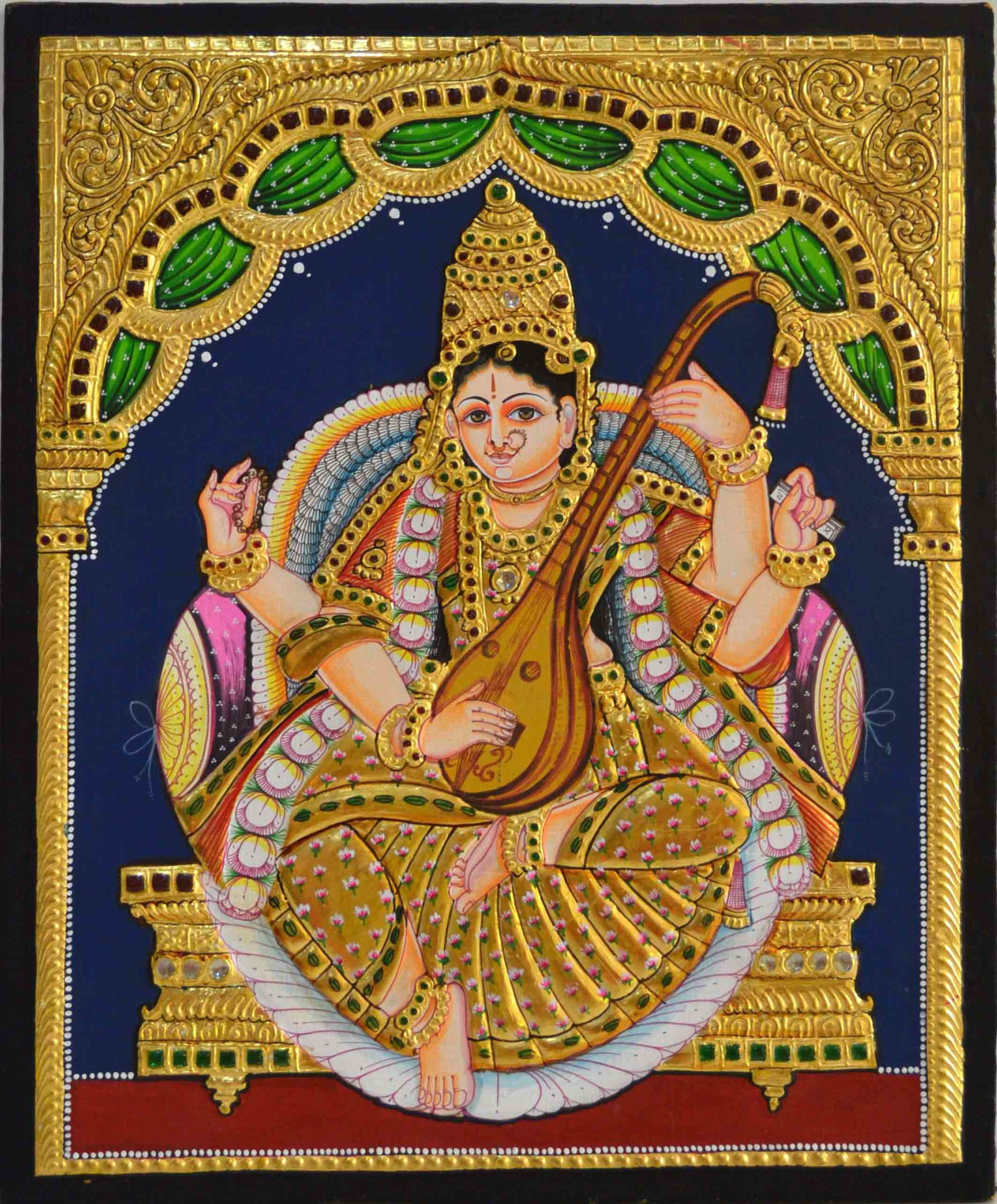 Goddess Saraswati Tanjore Painting