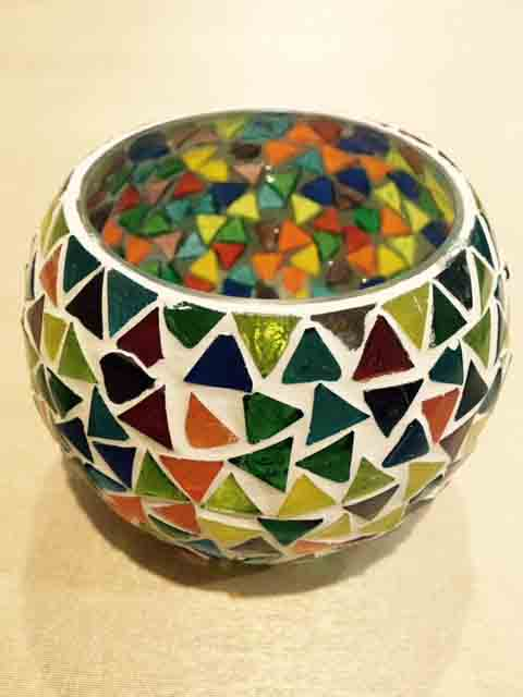 Multi Color Bowl Shaped Glass Hand Crafted Candle Light Holder Online Shopping