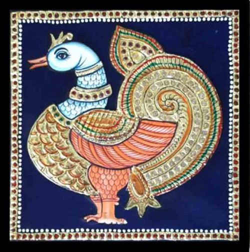 Square swan Tanjore Painting online