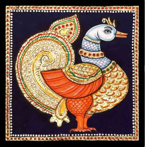 Majestic Swan Tanjore Painting