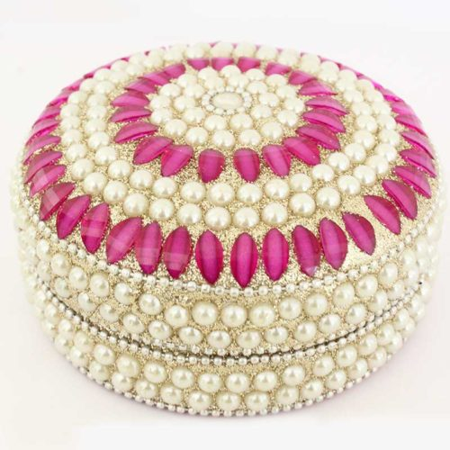 Buy Pearl Decorative Jewellery Box with Pink Semi Precious Stones | Indian Handicraft Online