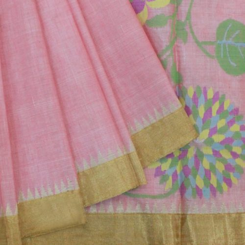 Baby Pink Cotton Uppada Saree With Flower Buttas And Temple Border.-0