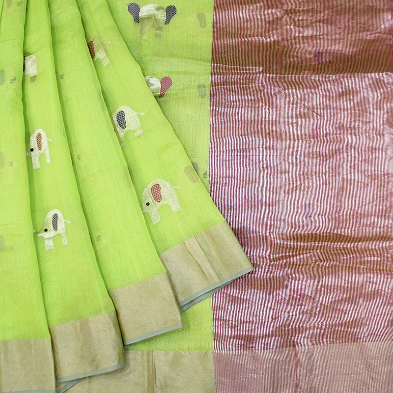 Elephant Motif Parrot Green Handloom Chanderi Saree