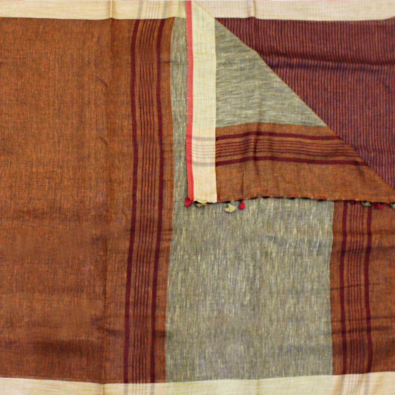 Pallu-Brown Handloom Linen Saree