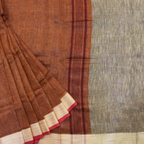 Body-Brown Handloom Linen Saree