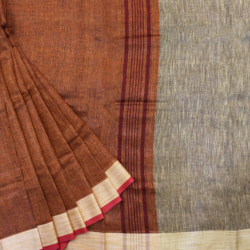 Body-Brown Handloom Linen Saree