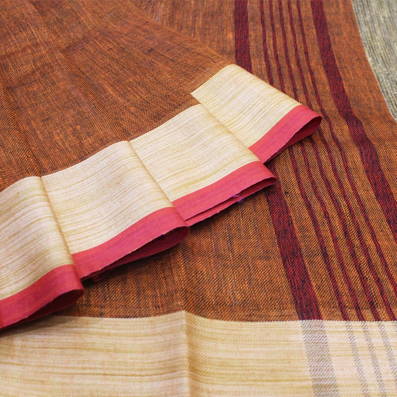 Zoom-Brown Handloom Linen Saree