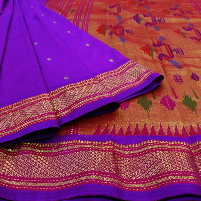 Purple Paithani Saree With Peacock Motif-3287