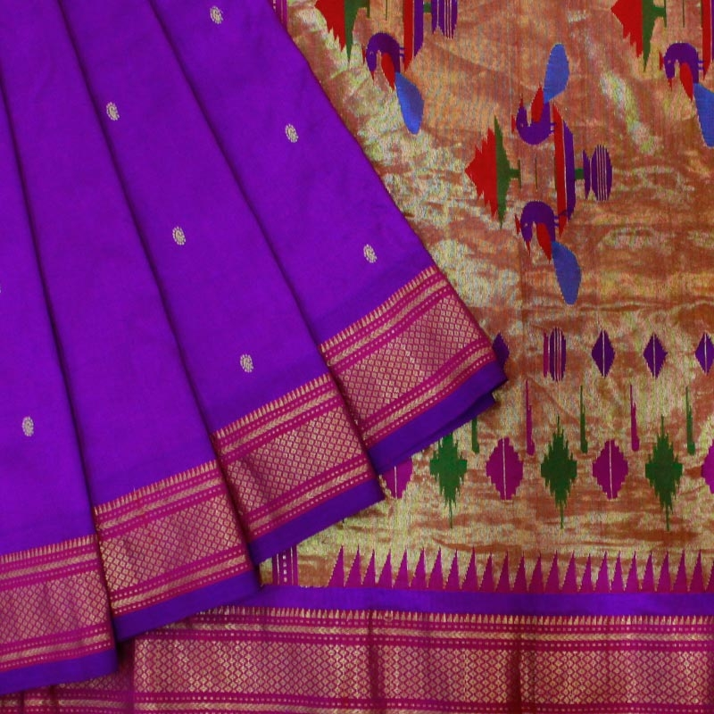 Purple Paithani Saree With Peacock Motif-0
