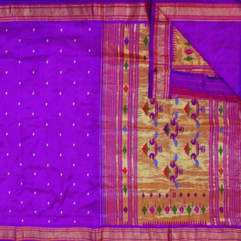 Purple Paithani Saree With Peacock Motif-3283