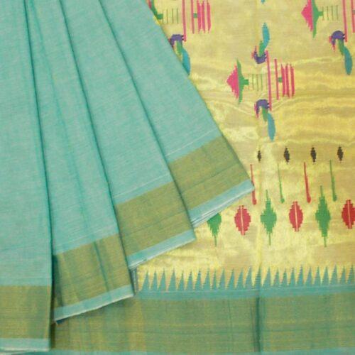 Blue Cotton Paithani Saree -0