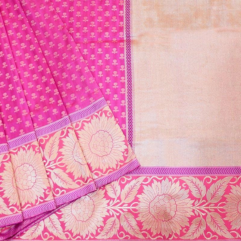 Pink Banarasi Saree With Flower Buttas-0
