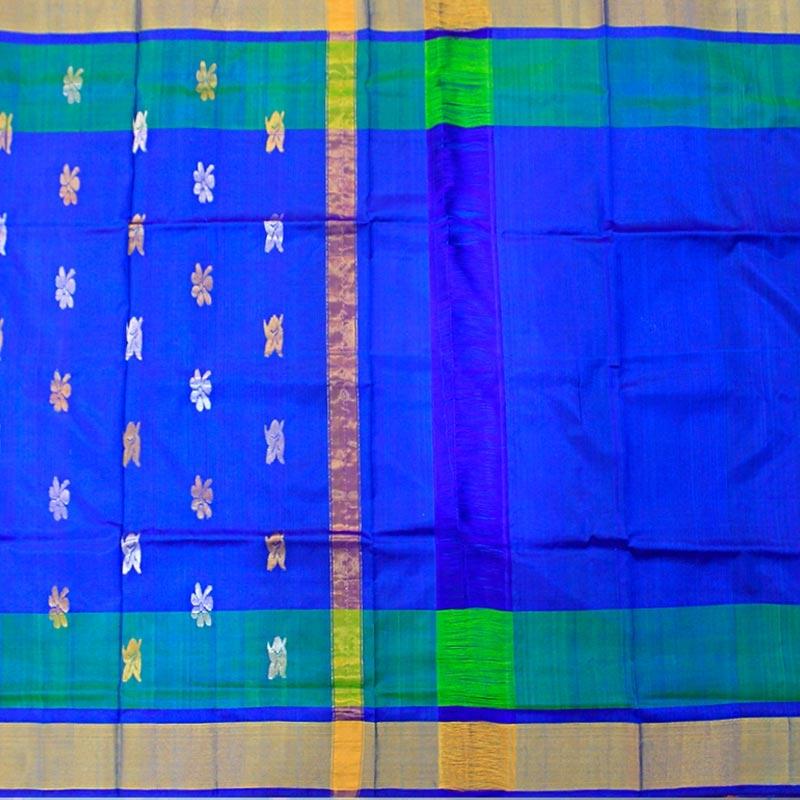 Uppada Ultramarine Blue Pure Handloom Silk Saree-2829