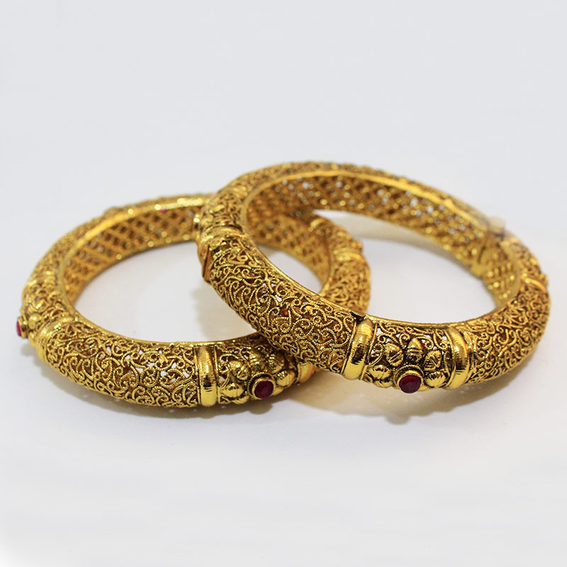 Trendy Gold Plated Designer Dailywear Bangles-0