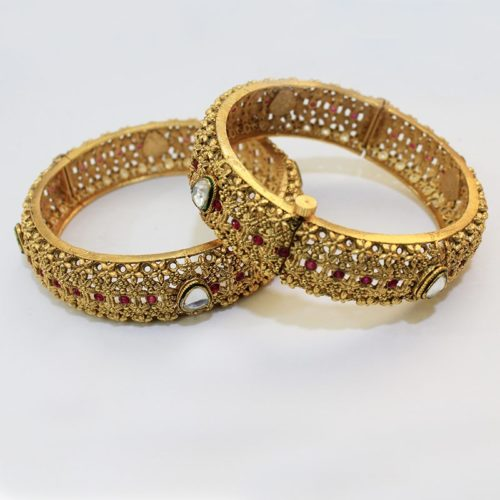 ANTIQUE STYLE GOLD PLATED KARA BANGLE FOR WOMEN-0