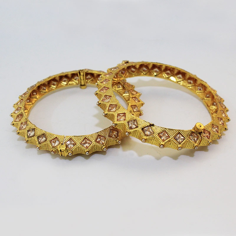 PLEASING GOLD PLATED MOTI BANGLES FOR WOMEN-0