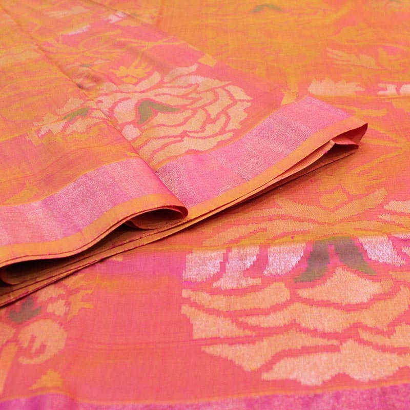 Red Uppada Silk Saree With Rose Motifs-3030