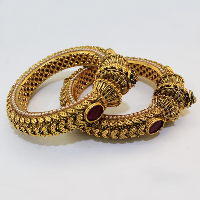 Gold plated Pearl Studded Ethnic Traditional party wear Openable bracelet kangan bangles for Women Girls-0