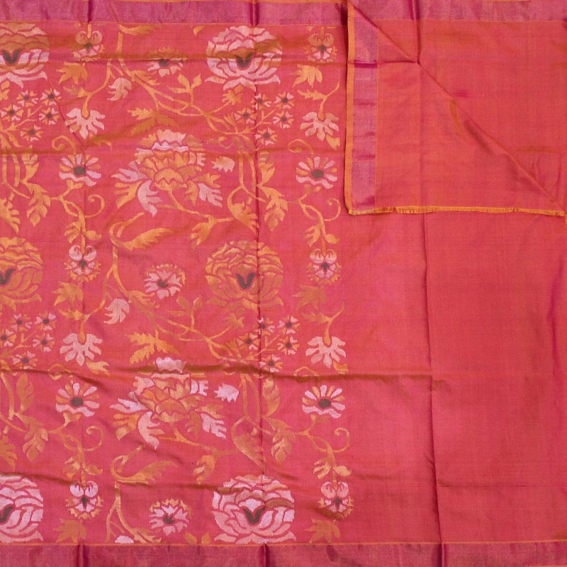 Red Uppada Silk Saree With Rose Motifs-3028