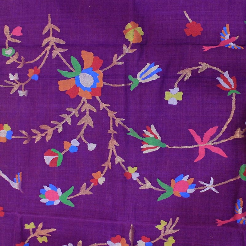Purple Cotton Uppada Saree With All over Leaf and Flower Motifs -3033