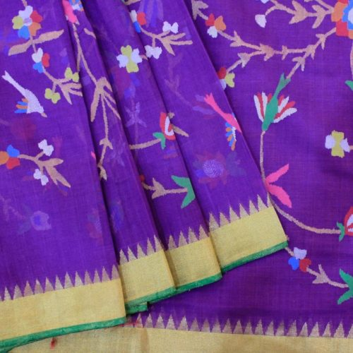 Purple Cotton Uppada Saree With All over Leaf and Flower Motifs -0