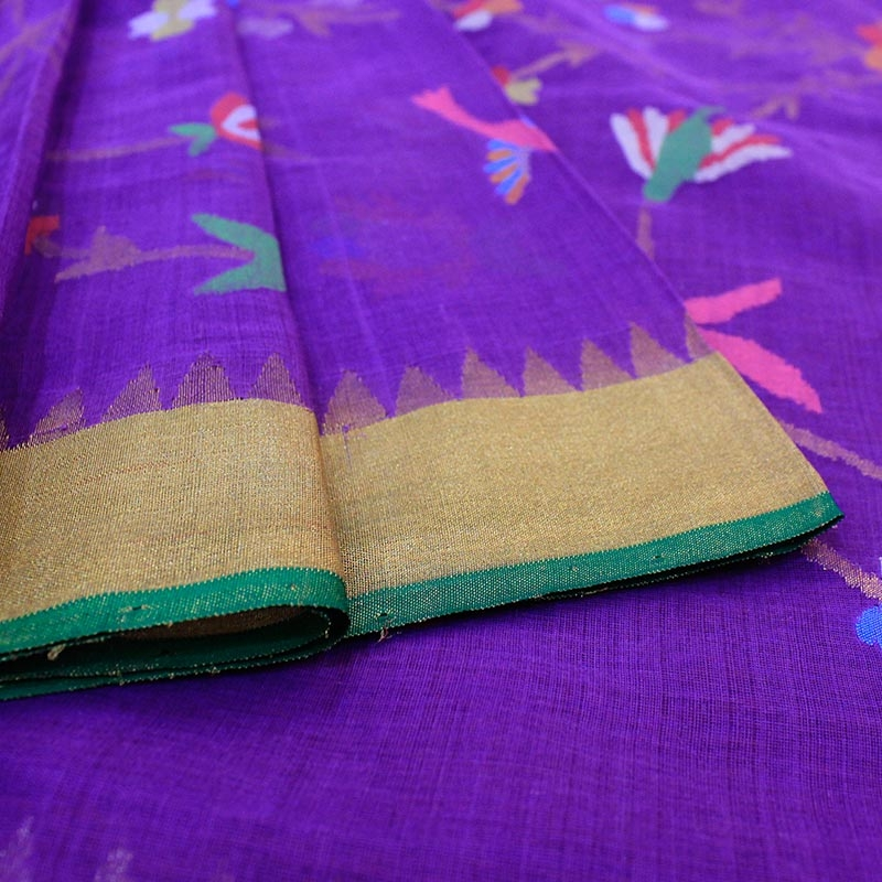 Purple Cotton Uppada Saree With All over Leaf and Flower Motifs -3035