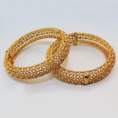 Gold Plated Jewellery Pearl Studded Bangles for Women and Girls-0